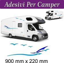 2 SET Adesivi per Camper - Onde e gabbiani - ADRIA CHALLENGER HOBBY MOBILVETTA