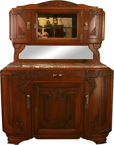 1920 ART DECO BUFFET  FRENCH CARVED WALNUT  OPULENT MARBLE TOP
