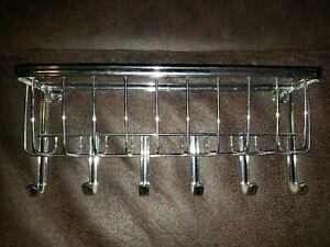 Metal Wall Mounted Mail & Key Organizer-Rack 1 bin 6 hooks Silver