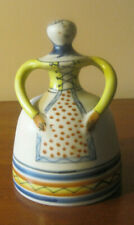 Vintage Talavera Spain Bell Lady Flower Hand Painted Ceramic Pottery Collectible