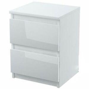Kommode mit 2 Schubladen HOCHGLANZ Nachttisch Sideboard weiß holz