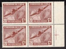 CHILE 1948 AIR MAIL STAMP # 383 MNH wmk 3 BLOCK OF FOUR AVIATION