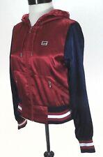 LEVI'S Satin Jacket Varsity Bomber Red/Blue Zip Up Hoodie Women's XS Super RARE