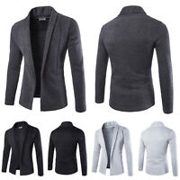 Mens Fashion Casual Slim Fit Solid Cardigan Suit Blazer Coat Jacket Tops Sweater