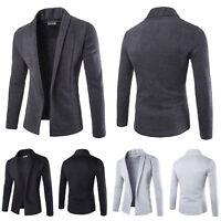 Men Solid Blazer Cardigan Long Sleeve Casual Slim Fit Sweater Jacket Coat Top US
