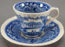 Pair of Antique Mason's Blue Vista Demitasse Cups & Saucers Circa 1891 - 1932