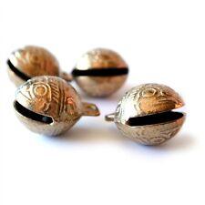 TIBETAN BRASS BELLS LOT of 4 22mm Bead Craft Temple Herding Small Metal Ethnic