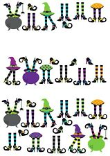 23 Stand Up Halloween Witches Legs Theme Design Wafer Paper Edible Cake Toppers