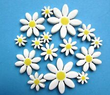 15 white handmade ceramic mosaic flower daisy shape tiles