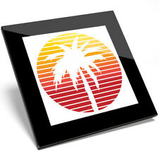 1 x Awesome Cute Red Orange Palm Tree Glass Coaster - Kitchen Student Gift #9013