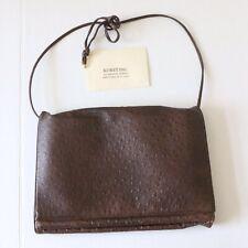 KORET Vintage Dark Brown Ostrich Leather Purse Handle Bag Flap GUC