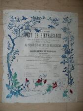 STATION THERMALE DE ROYAT 17 aout 1895 programme fête de bienfaisance DEVAL