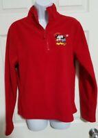 Mickey Mouse Walt Disney Red Fleece 1/4 Zip Jacket Men's sz S