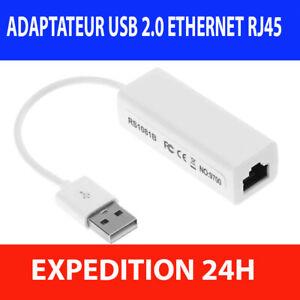 Adaptateur Réseau USB Ethernet Lan RJ45 Windows PC Mac 100Mbps Carte Réseau Clé