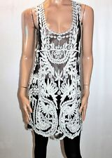 Simply Couture Brand Black Embroidered Mesh Lace Cover Up Top Shirt M BNWT #SV82
