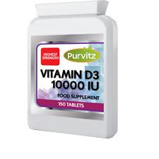 Vitamine D3 10000iu Comprimés Haut Max Résistance OS Système Immunitaire Purvitz