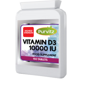 Vitamin D3 10000iu Tablets HIGH MAX Strength Bones Immune System Purvitz UK
