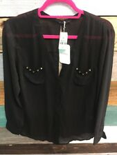 Millau Sheer Black Shirt Studded Pockets Open Back Size XS New $144 NWT