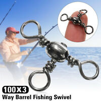100x 3 Way Barrel Fishing Lures Swivel Solid Rig Rings Bearing Connector Tackle