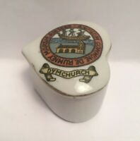 Vintage Crested China Dymchurch Heart Shaped Box
