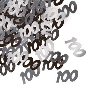 100th Black Glitz Confetti - 14g - Table Birthday Party Foil Decoration