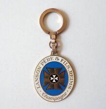 Enameled Keychain key ring 1960s Champagne LANSON Porte Clé émaillé 1960