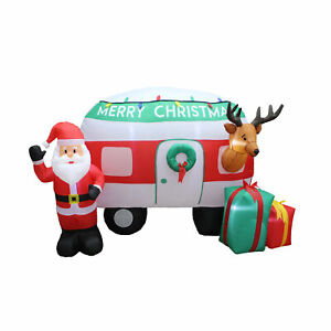 A Holiday Company 8 Ft Wide Inflatable Christmas Camper Holiday Lawn Decoration