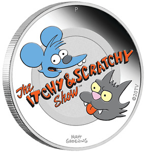 2021 Simpsons Itchy & Scratchy 1oz $1 Silver 99.99% Dollar Proof Coin