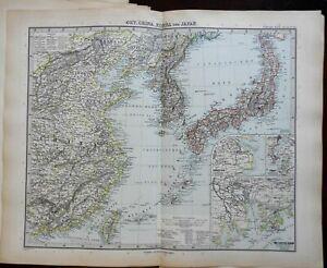 Asia China Korea Japan Taiwan Shanghai Canton Macao 1891 Stieler detailed map