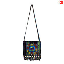 Vintage Canvas Ethnic Shoulder Bag Embroidery Hippie Tassel Tote Messenger Bag B