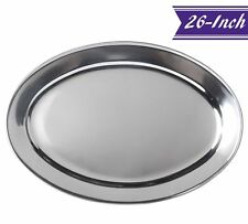 26-Inch Stainless Steel Serving Platter, Large Oval Platter by Tezzorio