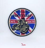 British Cafe Racer logo biker Iron on/Sew on Embroidered Patch #521
