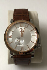 Auth Gc Gents  Watch  Rose Gold Round Saphire Crystal Leather Strap