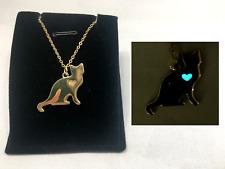 Cat LOVE Heart GLOW IN THE DARK Aqua Gold Silhouette Charm Pendant Necklace