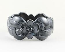 Grey Black bangle bracelet carved wood look plastic hinged wide cuff flower