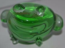 Vintage Frog Green Clear Art Glass Paperweight