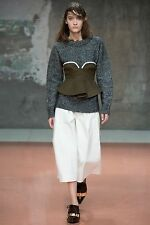 =SUPER CUTE= MARNI Olive Green Structural Ruffle Wool Felt Bustier Crop Top US 6
