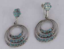 Old Zuni petit point cluster Turquoise inlay sterling silver large earrings
