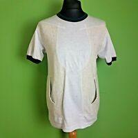 GANRYU T-Shirt Size Medium Mens Grey Beige Crew Neck ES-T012-051-1-3 M RRP £169