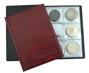 Red Collector Album for 48 Large Size Coins CROWN 5 POUND Coin Folder  /R1