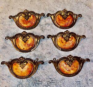 6 Bakelite Butterscotch ClamShell Waterfall Dresser Drawer Pulls Brass Handles