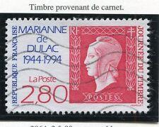 TIMBRE FRANCE OBLITERE N° 2864 MARIANNE DE DULAC /CARNET