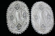 """EXCEPTIONAL VICTORIAN-EDWARDIAN HAND MADE EMBROIDERED LACE TABLE LINENS 12"""" X 8"""""""