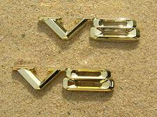 "~ V8 PAIR GOLD CAR EMBLEMS Wide Metal Badges *NEW & UNIQUE!* 2 3/4"" or 70mm"