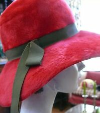 Late 1960`s early 1970`s British Large Red Floppy Hat Bohemian & Rock and Roll