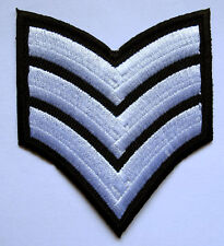 US ARMY SERGEANT STRIPE E-5 WHITE Embroidered Iron on Patch + Free Shipping