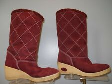 Vintage 60s 70s Burgundy Suede Winter Boots Crepe Wedge Sole Heels Boho Mod 37 6