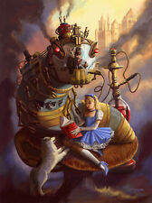 Signed Steampunk Alice in Wonderland Fairy Tales 13x17 Artwork Reproduction