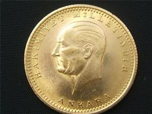 RARE 100 Piasters Kemal Ataturk 22k. Gold Coin 1923-46