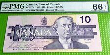 1989 BANK OF CANADA $ 10 TEN DOLLARS PMG GRADED   66 GEM UNCIRCULATED